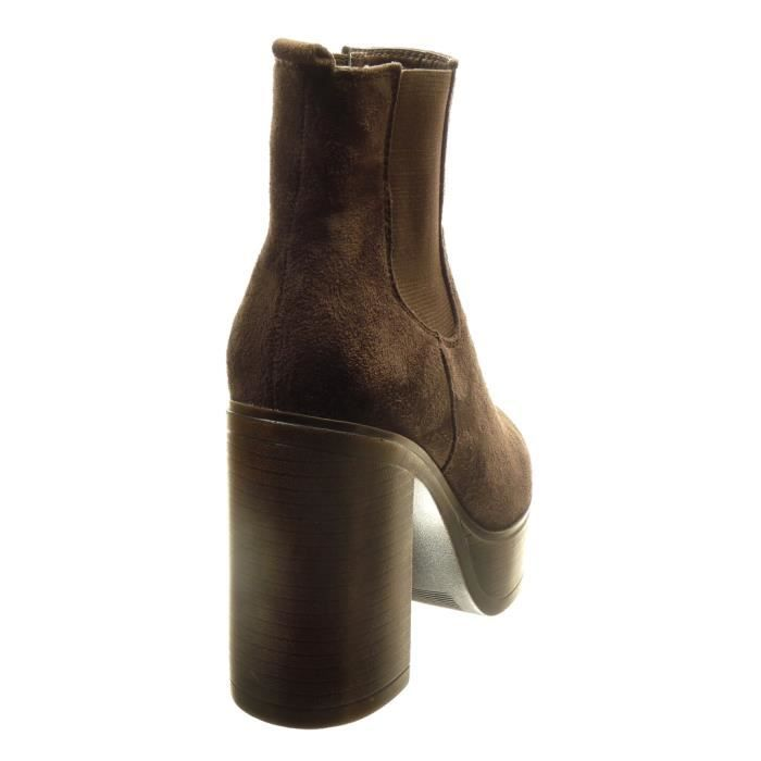 Angkorly - Chaussure Mode Bottine chelsea boots plateforme montante femme Talon haut bloc 11 CM - Marron - AS1566