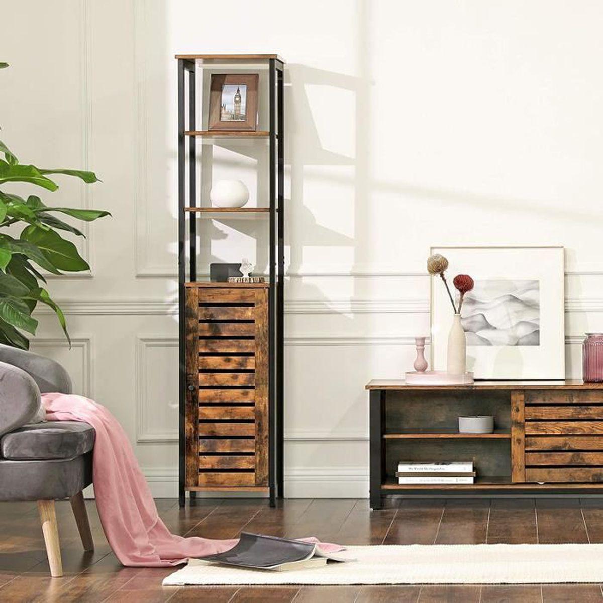 VASAGLE Meuble colonne, Meuble de rangement, Style industriel, Armoire de  salle de bain, 37 x 30 x 167 cm LSC37BX