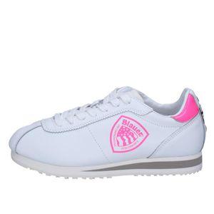 BASKET BLAUER Chaussures Femme Baskets Cuir Blanc AB817