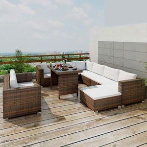 SALON DE JARDIN  Jeu de meuble de jardin 28 pcs Ensemble table chai