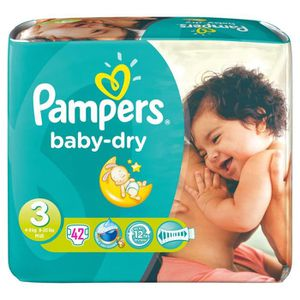 COUCHE PAMPERS - Couches Bébé - Baby Dry Taille 3 x42
