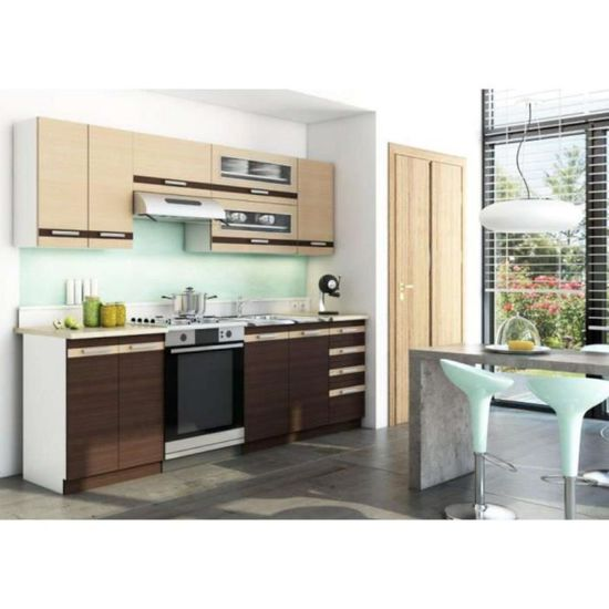 Justhome Lungo Cuisine Equipee Complete Couleur Wenge Chene
