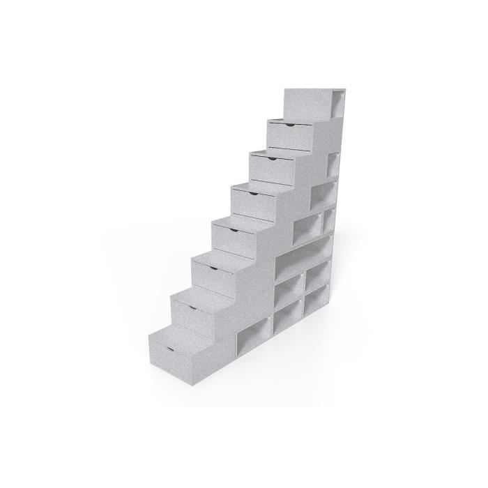 Escalier Cube de rangement hauteur 200 cm - Couleur - Gris Aluminium