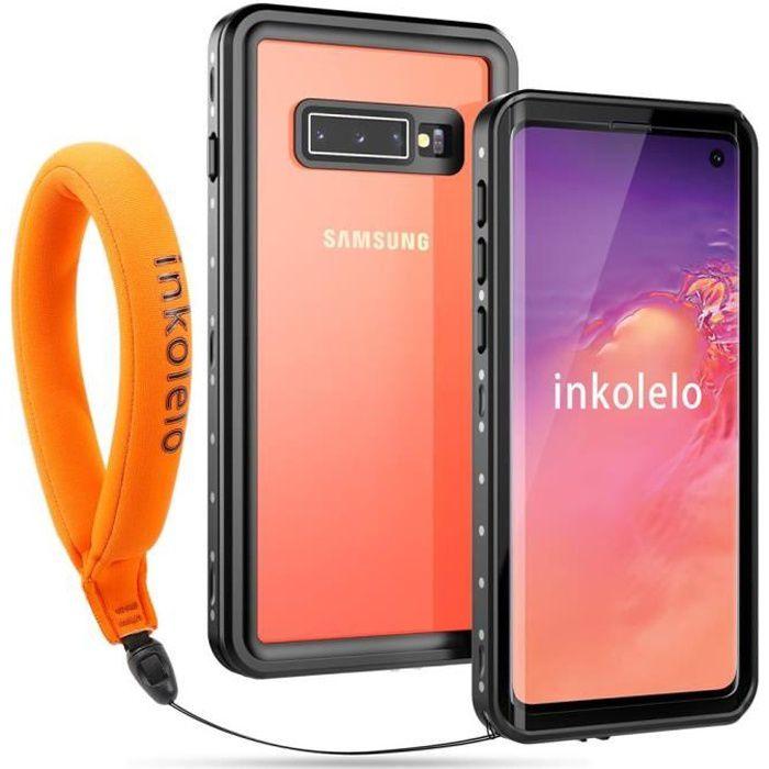 inkolelo Coque Étanche pour Samsung Galaxy S10, 360° Protection Waterproof Housse [Antichoc] [Capteur d'empreintes Digitales] (Noir)