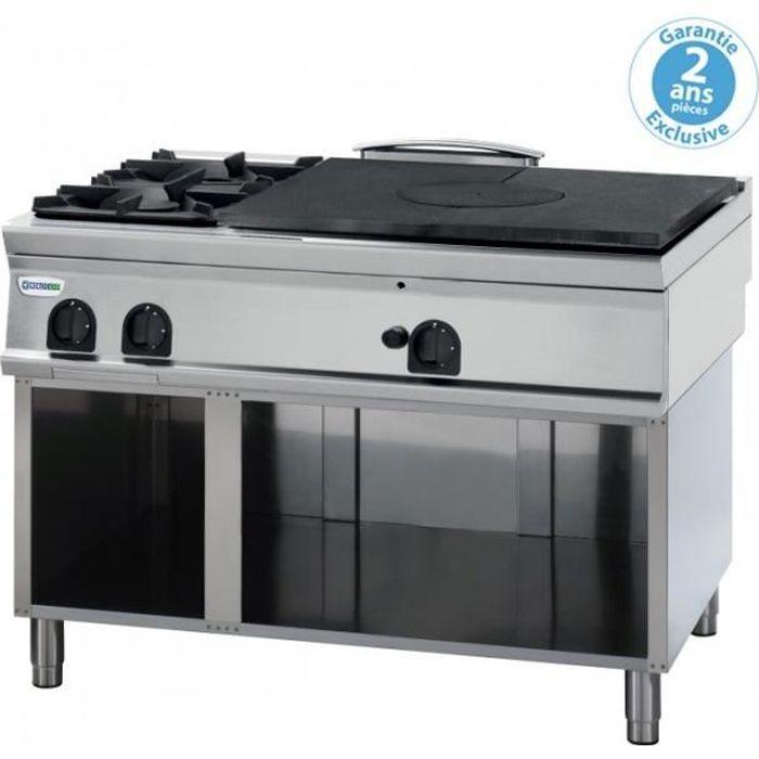 Plaque de cuisson - top 2 feux vifs gaz et plaque coup de feu à poser - gamme 900 - Tecnoinox - 900