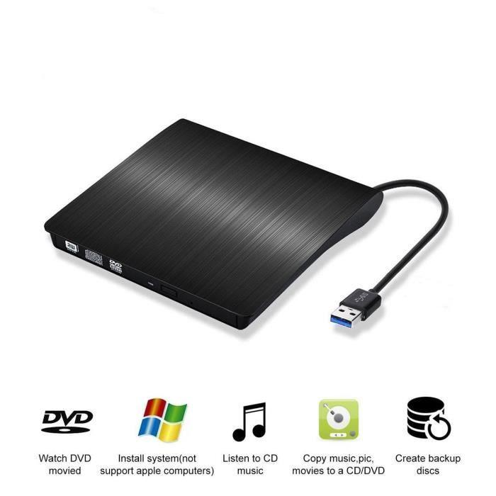 Lecteur CD/DVD Externe,USB 3.0 Graveur DVD Externe CD Enregistreur Portable RW/ROM Mince ROM Transmission Blanc