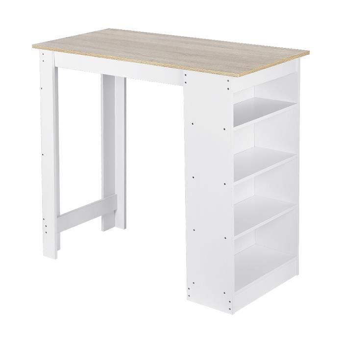 Table Haute Table de Bar Mange-debout avec 4 étagères de rangements – Décor chêne et blanc