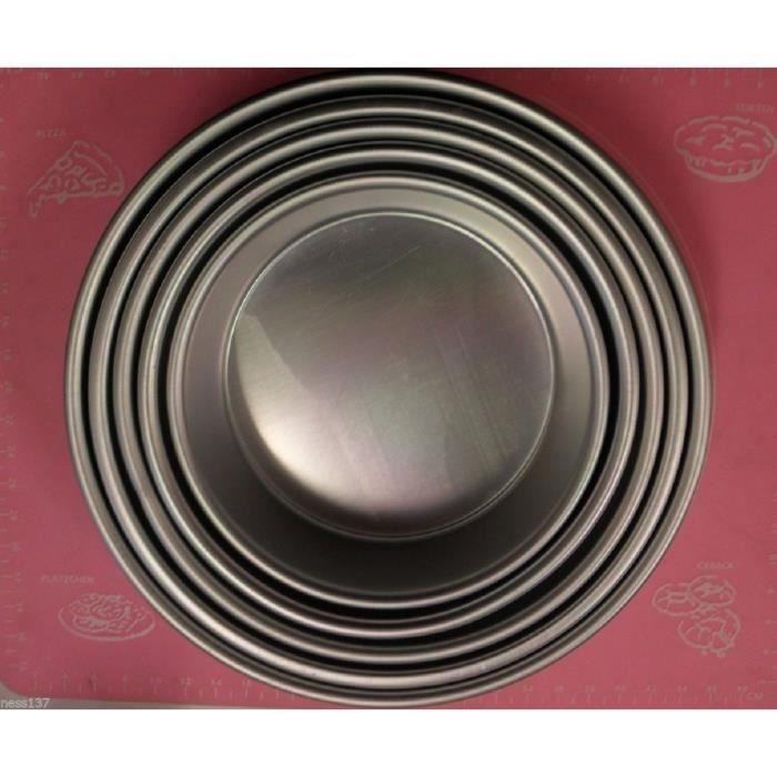 Serie 5 Moules Aluminium Ronds Fond Gateau Patisserie Genoise Cake Design H8,5cm