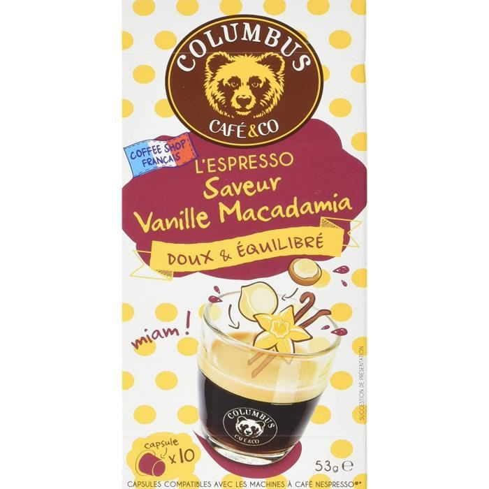 Columbus Café &Amp Co Capsules De Café L'Espresso, Saveur Vanille Macadamia, Doux &Amp Équilibré - La Boîte De 10, 53g