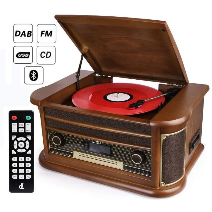 D & L 10 en 1 Platine Vinyle Bluetooth Vintage, Platine Disque Radio Dab FM, Lecteur CD - MP3 - Cassette, Lecteur USB et Encodage