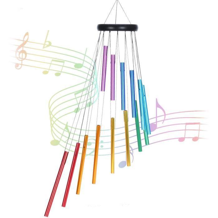Carillon a Vent Exterieur, 14 Tube Couleur Aluminium Carillon &agrave Vent,Deco de Arbre Moulin &agrave Vent Jardin Exterieur 540