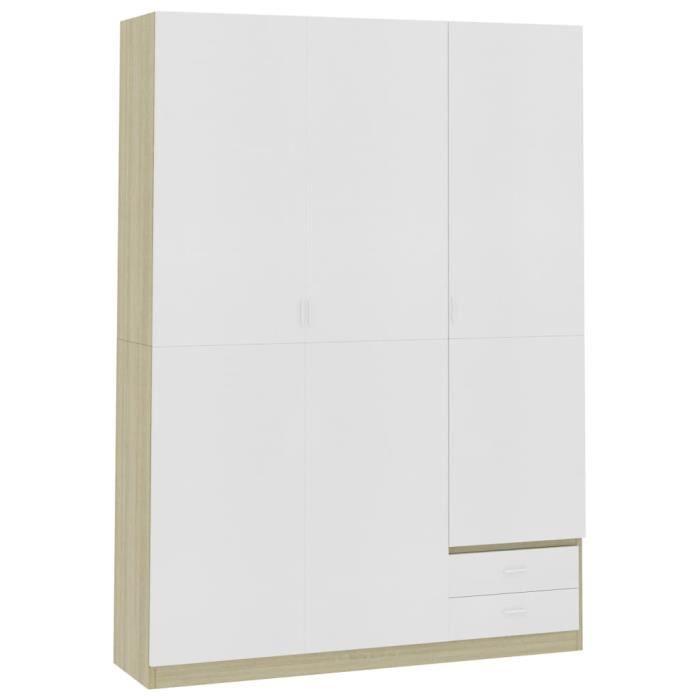 Armoire de rangement Garde-robe Armoire de chambre armoire à linge à 3 portes Blanc-Chêne sonoma 120x50x180cm Aggloméré