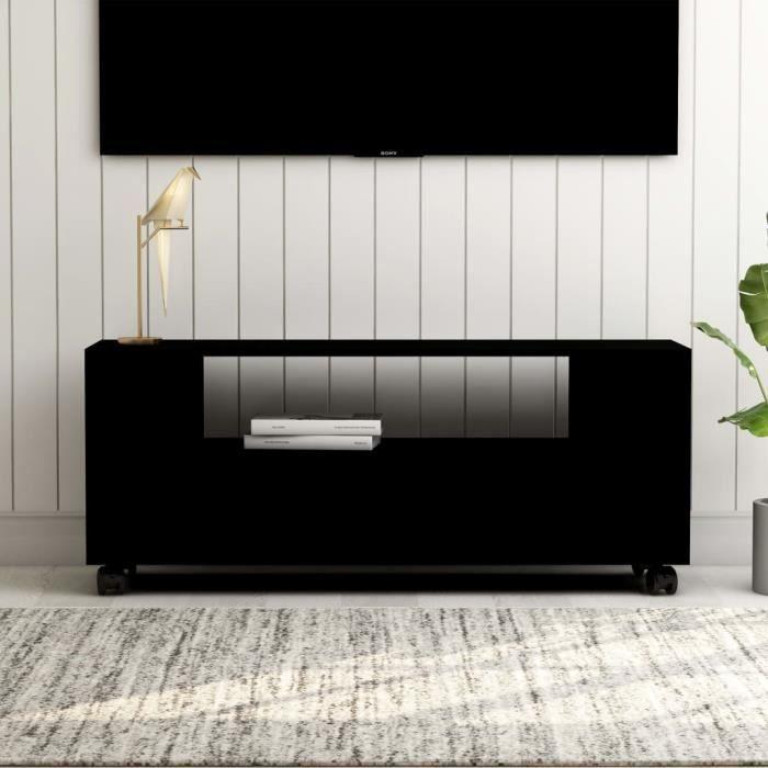 LIY- Meuble TV Noir 120 x 35 x 43cm Aggloméré