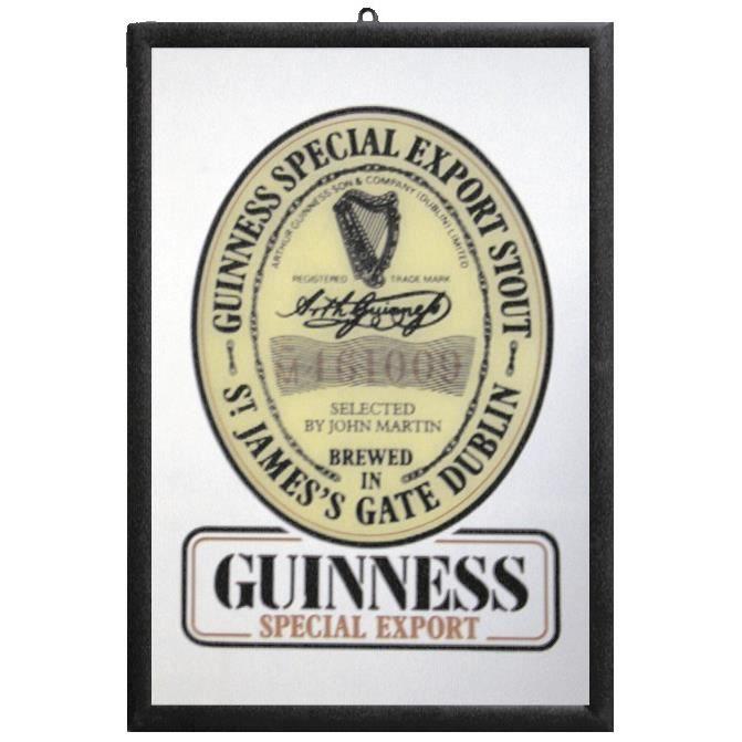 Miroir Guinness Miroir mural avec cadre noir en plastique effet bois. 32 cm x 22 cm