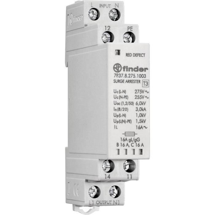 Disjoncteur Finder SPD Typ 3 7P.37.8.275.1003 gris 16 A 1 inverseur (RT) 230 V Type de conducteur = L, PE, N 1 pc(s) - COMPOSANT DE
