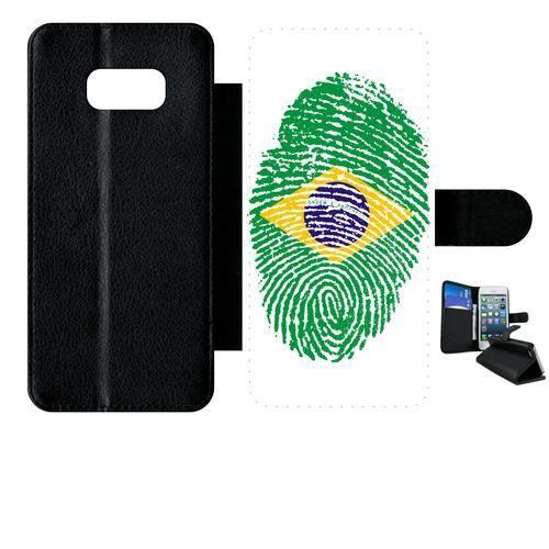 Etui a rabat - Plastique - Noir Samsung Galaxy S8+ 60 EMPREINTE DIGITALE DRAPEAU BRESIL BRAZIL
