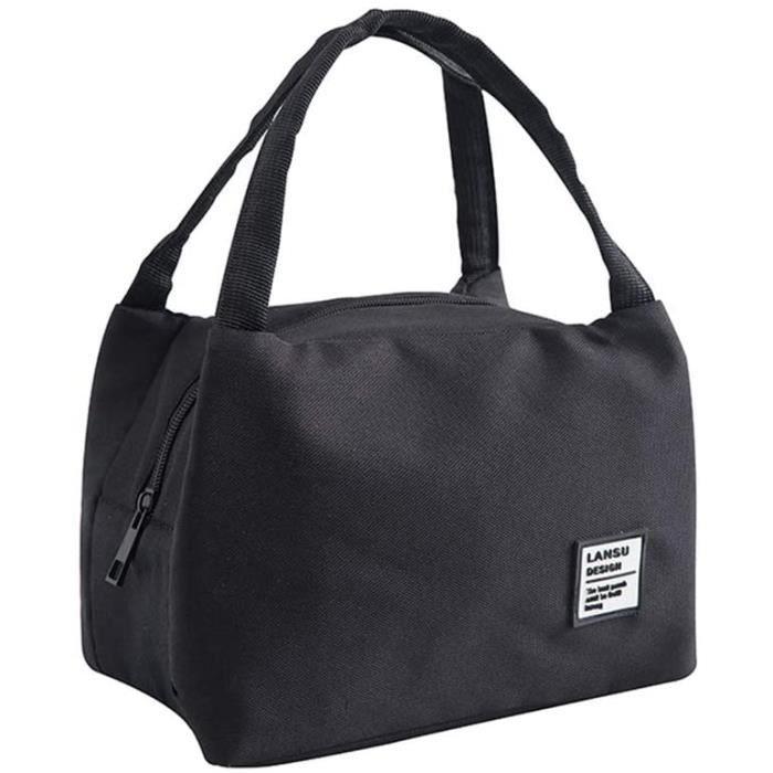 Sac Isotherme Repas Portable Sac à Déjeuner Lunch Bag pour Travail Ecole Voyage Pique-Nique Camping Repas 23cm*18cm Noir