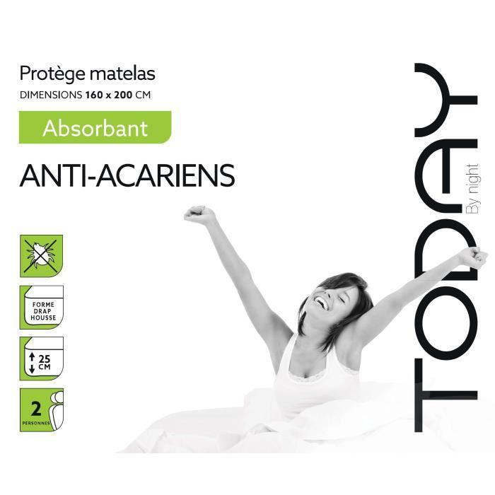 TODAY Protège Matelas / Alèse Absorbant Anti-Acariens 160x200cm - 100% Coton