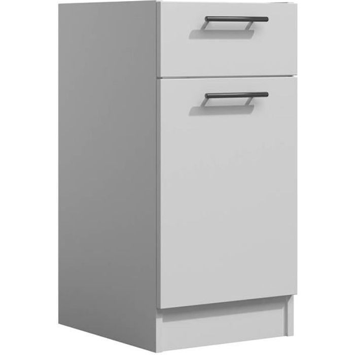 LILA - Meuble de cuisine bas 40 cm 1 porte 1 tiroir blanc