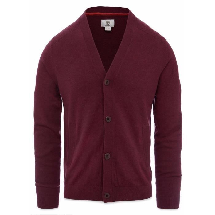 Timberland Cardigan Homme Burdeos 100% Laine