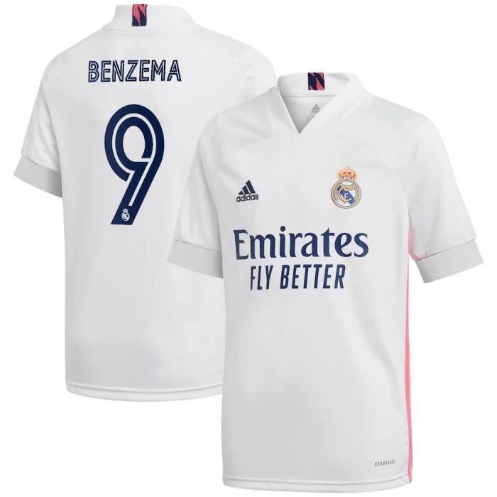 Nouveau Maillot Real Madrid Domicile 2020 2021 Maillot de Foot 9 Karim Benzema Pas Cher Homme Blanc
