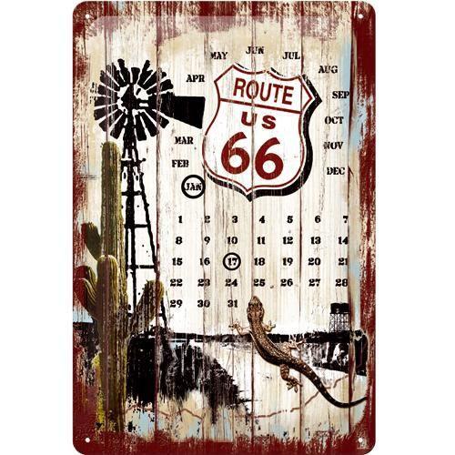 Plaque métal Route 66 Calendrier Perpétuel