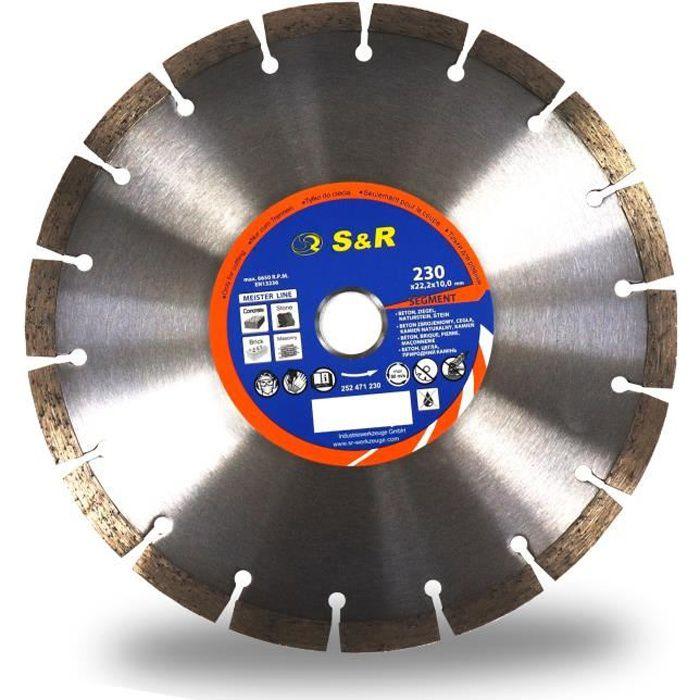 S&R Disque diamant 230 à Béton. Meule à tronçonner standard soudé au laser. Universel pour Béton, Pierre, Brique