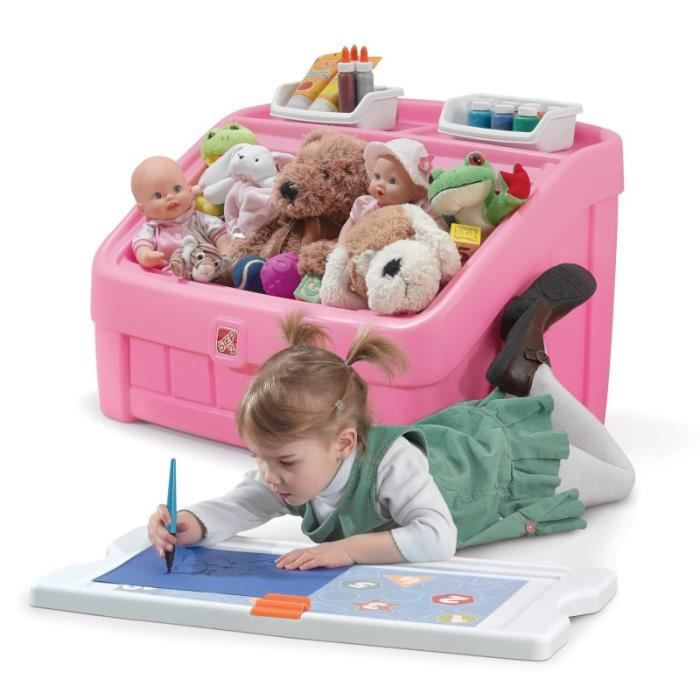 Coffre à jouets et table à dessiner Step2 Rose pour enfant fille 2 ans et plus