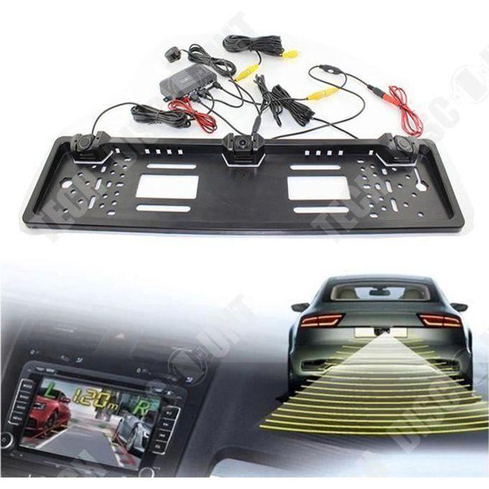 TD® Caméra de recul avec radar étanche - plaque d'immatriculation avec camera de recul angle 170 degre-radar de voiture