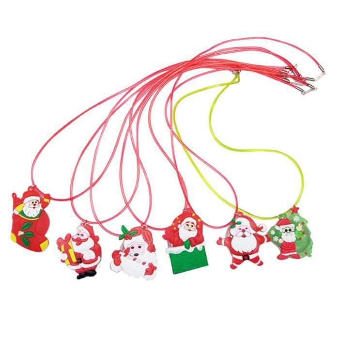 6 PCS Creative LED Colliers Mignon Collier Lumineux Pendentif Chaîne Cadeaux De Noël pour Enfants CHAINE DE COU VENDUE SEULE