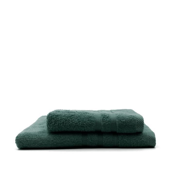 TODAY Lot de 1 Serviette de bain 50 x 100 cm + 1 Drap de bain 70 x 130 cm Emeraude - 100% coton TODAY