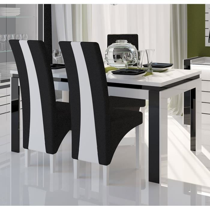 table manger blanc et noir laqu erica table 160 cm. Black Bedroom Furniture Sets. Home Design Ideas