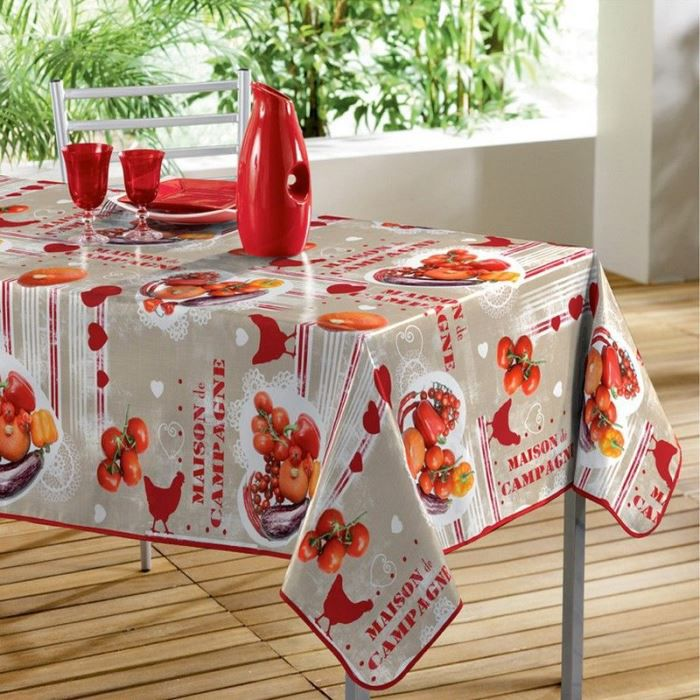 nappe toile cir e rectangle 140 x 240 cm poule achat vente nappe de table cdiscount. Black Bedroom Furniture Sets. Home Design Ideas