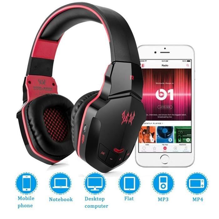 CASQUE AVEC MICROPHONE Bluetooth V4.1 sans fil/filaire Over-Ear Gaming ca