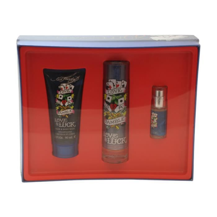 Ed Hardy Love Luck For Men 3 4 Oz 100 Ml Edt Spray: 3 Pc. Gift Set ( Eau De Toilette Spray 1.7 Oz & .25 Oz + Hair & Body Wash 3.0 Oz)