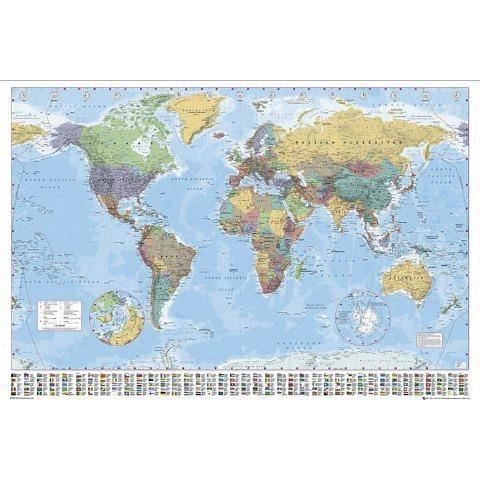 carte du monde avec drapeaux poster achat vente drapeau d coratif cdiscount. Black Bedroom Furniture Sets. Home Design Ideas