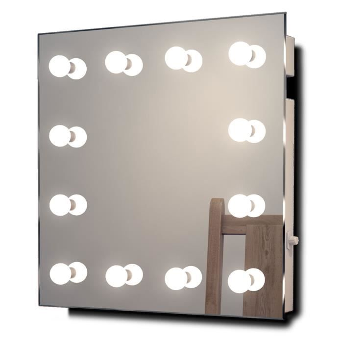Miroir de maquillage hollywood lampes del blanches for Miroir hollywood