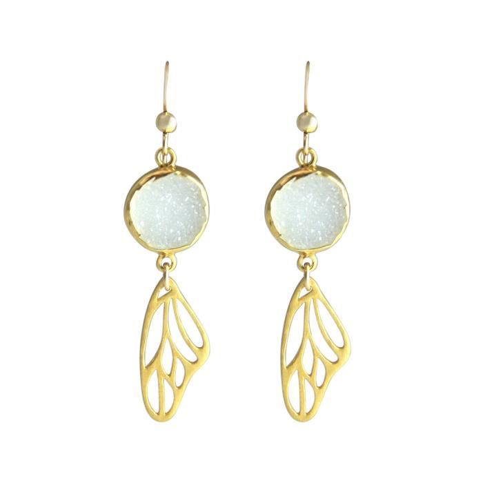 Gemshine - Dames - Boucles doreilles - papillon - ailes - wings - 925 Argent - Or - Druzy - Blanc - Quartz - 5 cm