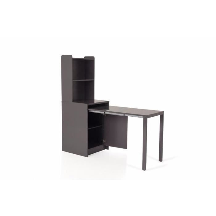 Meuble kolto transformable en console extensible gris for Table extensible avec rangement
