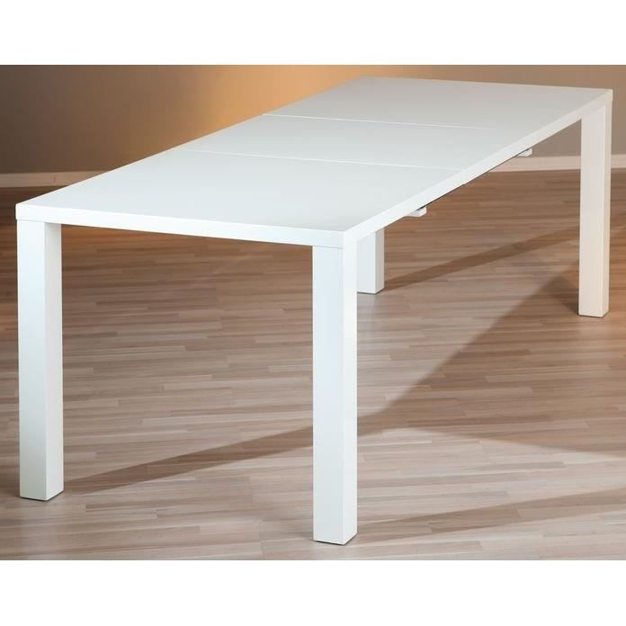 Table rectangulaire 1 allonge ottawa blanche achat for Table rectangulaire bois avec allonges