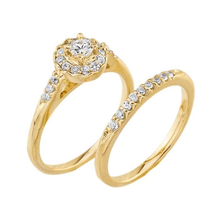 Bague Femme- Alliance 10 Ct Or Jaune Diamant