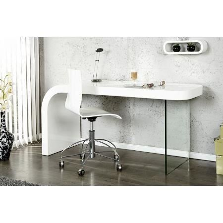 bureau design blanc laqu et verre timmen achat vente bureau bureau design blanc laqu e. Black Bedroom Furniture Sets. Home Design Ideas