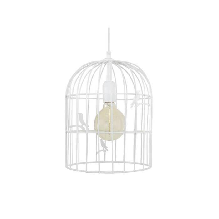 LUSTRE ET SUSPENSION Suspension cage à oiseaux en métal blanc diamètre
