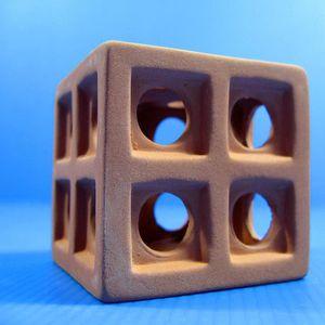AQUARIUM UP AQUA Ceramic Cube Barrier Hide Cave Aquarium Or
