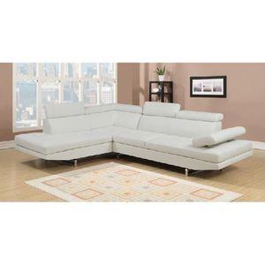 CANAPÉ - SOFA - DIVAN Canapé d'angle design blanc 6 places (ANGLE GAUCHE