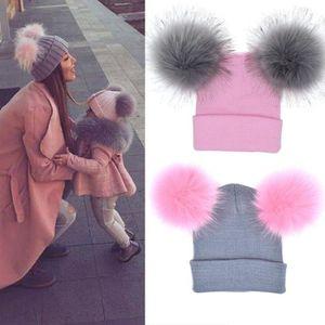 CASQUETTE 2 Pcs hiver maman bébé bonnet tricoté ensemble cha