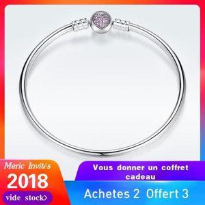 BRACELET - GOURMETTE Bracelets Pandora style femme argent 925 17CM Rose
