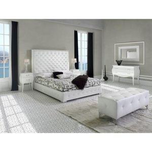 STRUCTURE DE LIT Lit ACONCA 160x200cm en PU blanc - L 200 x l 160 x