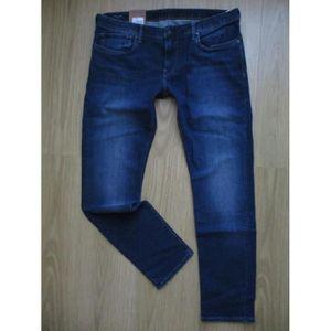 Guess Slim Coupe Droite Jeans Homme Taille 38 x 32 bleu effet vieilli Light Wash-Neuf