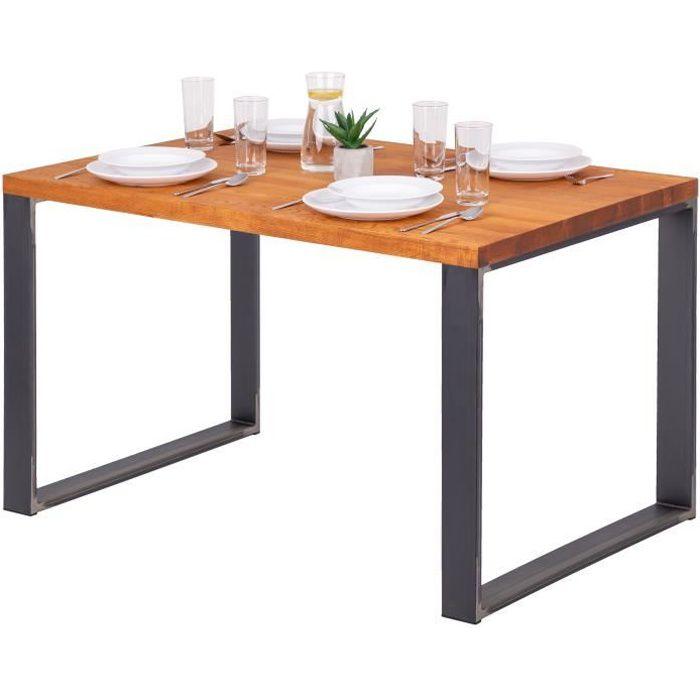 LAMO MANUFAKTUR Table à manger industrielle en bois massif - 120x80x76cm - frêne foncé - pieds acier brut - modèle modern